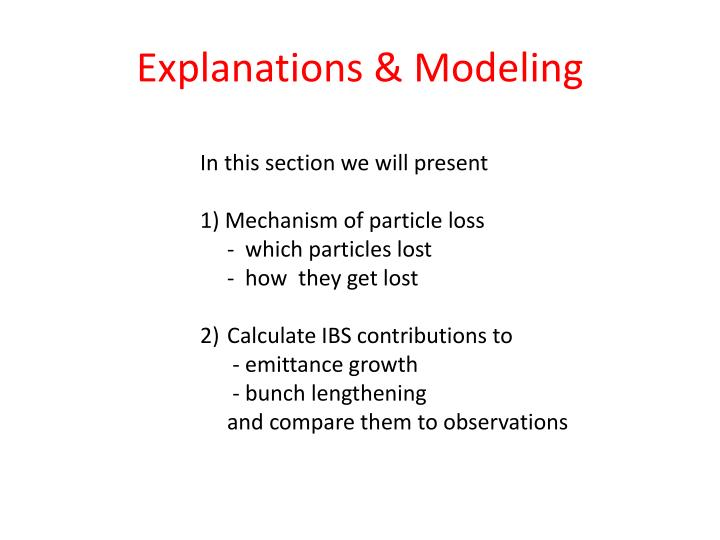 Explanations & Modeling