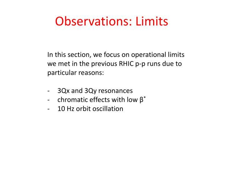 Observations: Limits
