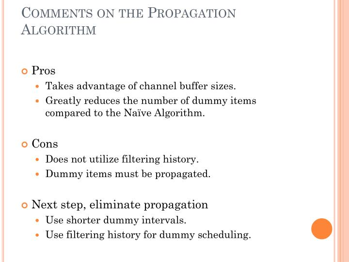 Comments on the Propagation Algorithm