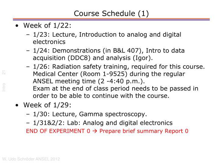Course Schedule (