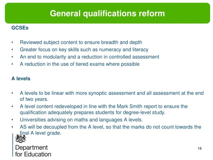 General qualifications reform