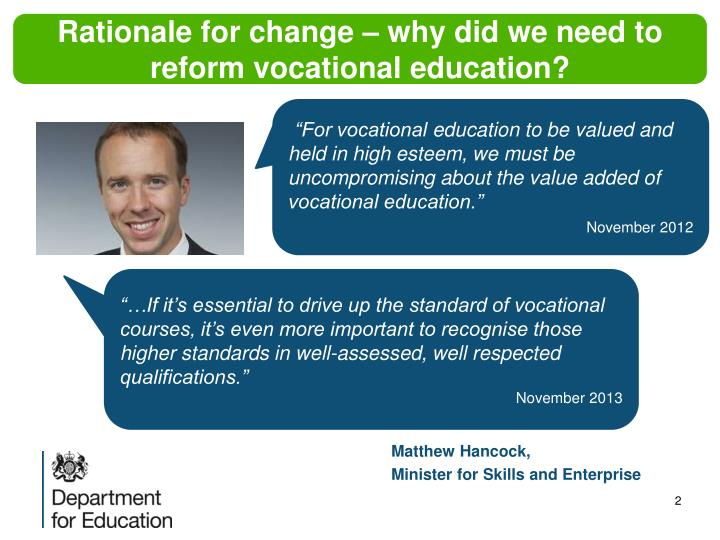 Rationale for change – why did we need to reform vocational education?