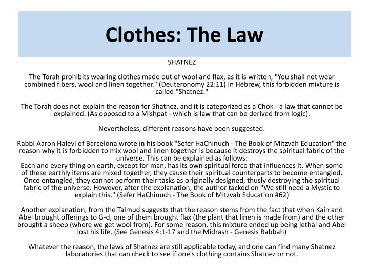 Clothes: The Law
