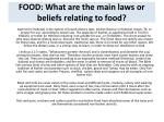 food what are the main laws or beliefs relating to food