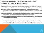 culture jamming no logo no space no choice no jobs n klein 2002