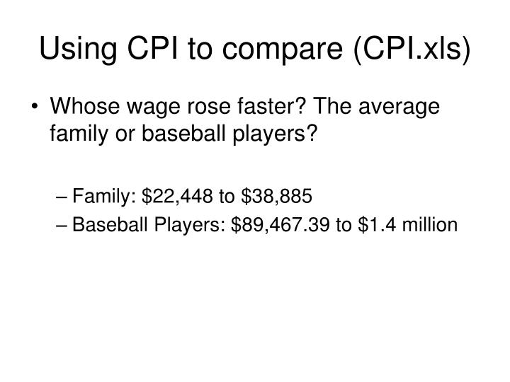 Using CPI to compare (CPI.xls)