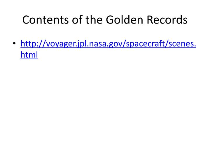 Contents of the Golden Records