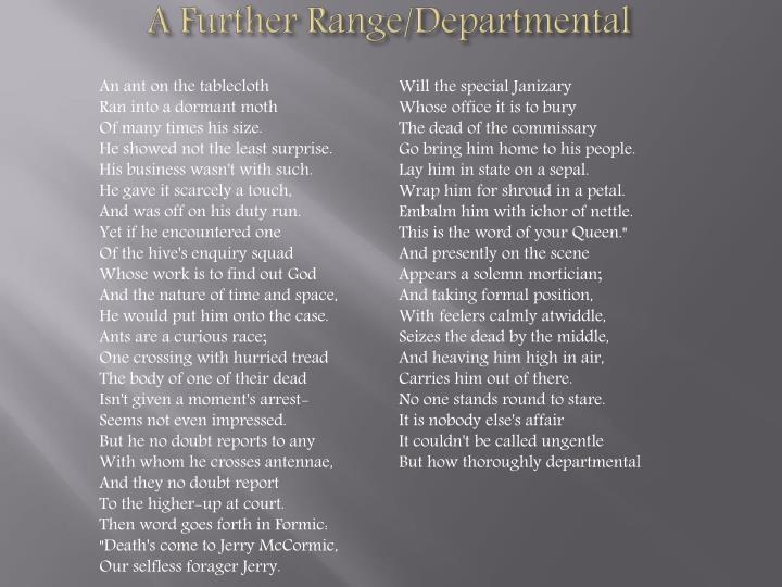 A Further Range/Departmental