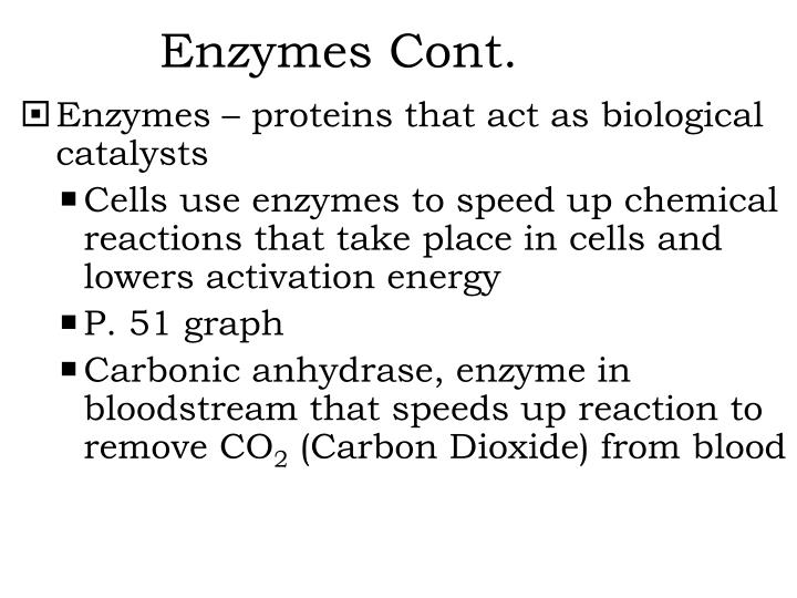 Enzymes Cont.