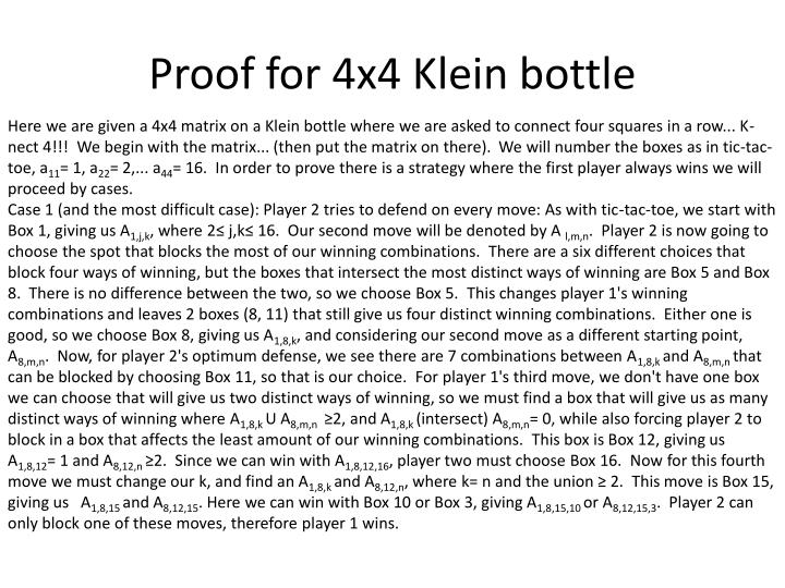 Proof for 4x4 Klein bottle