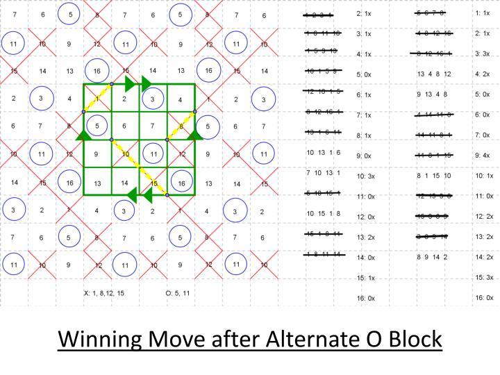 Winning Move after Alternate O Block