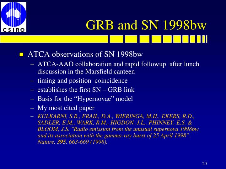 ATCA observations of SN 1998bw