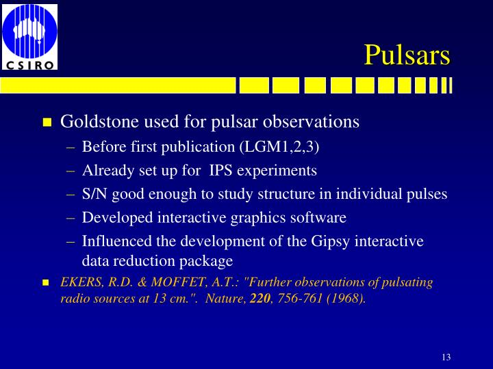 Goldstone used for pulsar observations