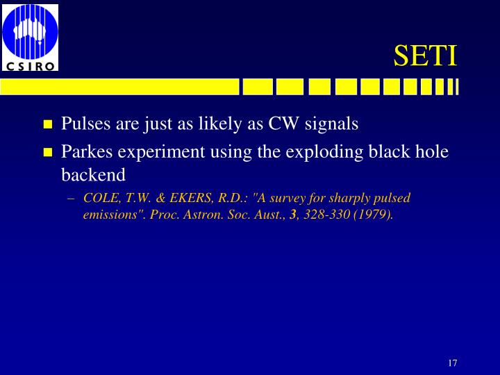 Pulses are just as likely as CW signals