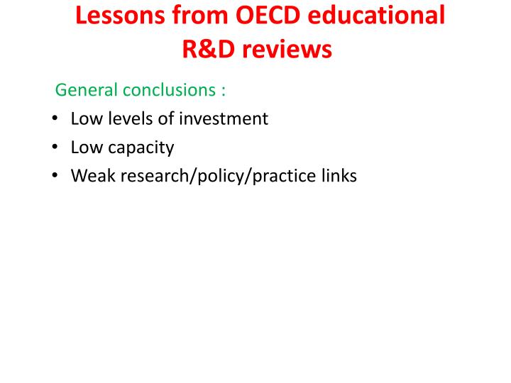 Lessons from OECD educational R&D reviews