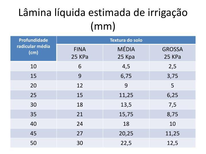 Lâmina líquida estimada de irrigação (mm)