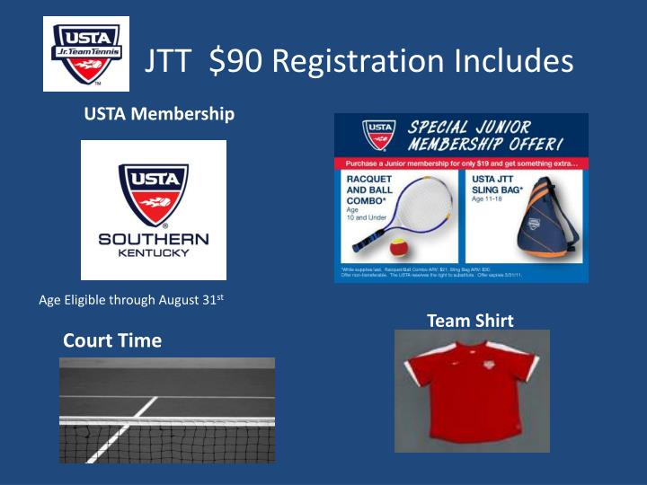 JTT  $90 Registration Includes