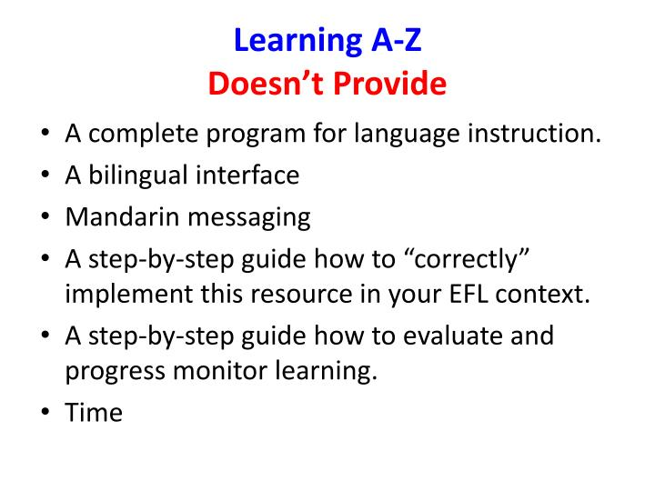 Learning a z doesn t provide