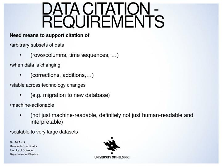 Data Citation - Requirements