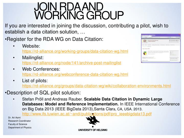 Join RDA and Working Group