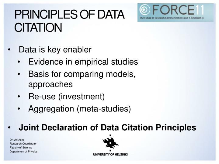 Principles of Data citation