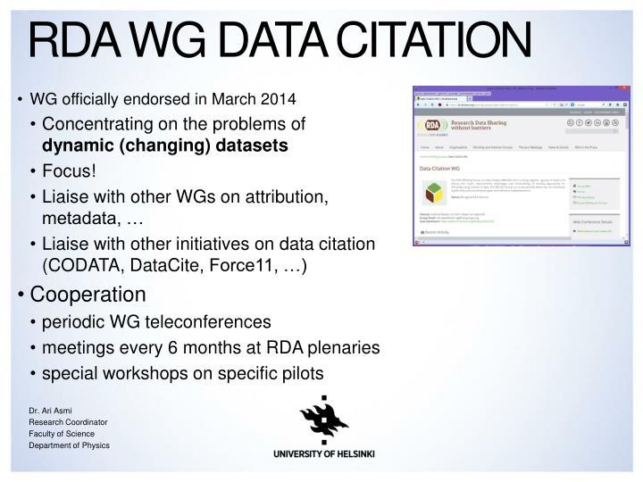 RDA WG Data Citation