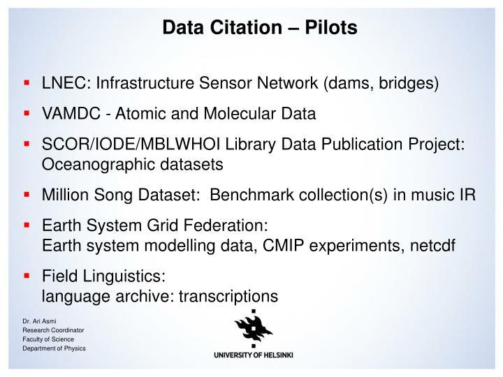 Data Citation – Pilots