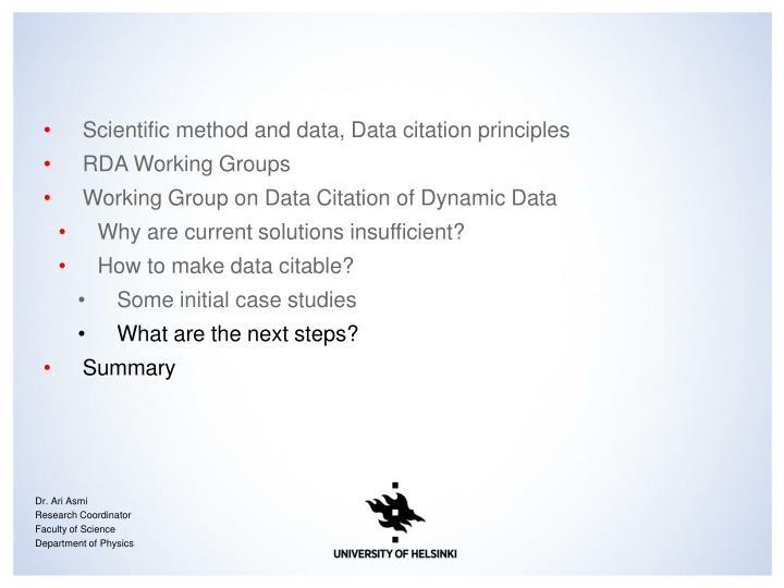 Scientific method and