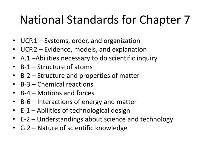 National standards for chapter 7