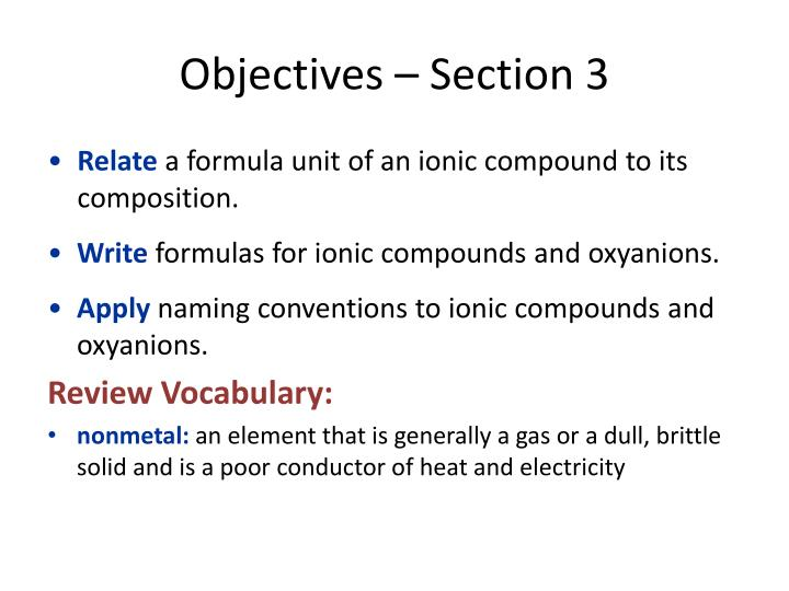 Objectives – Section 3