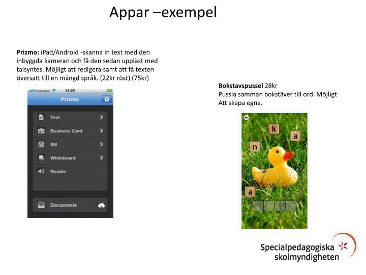 Appar –exempel