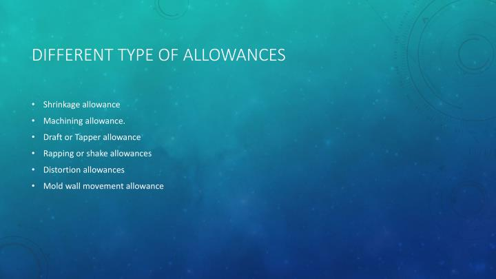 Different type of allowances
