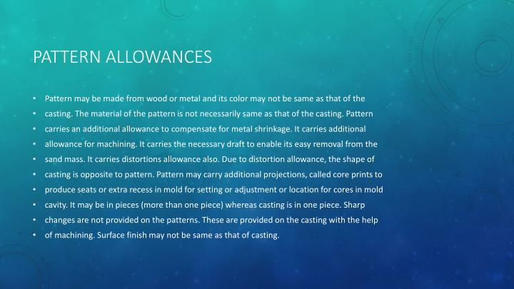 PATTERN ALLOWANCES
