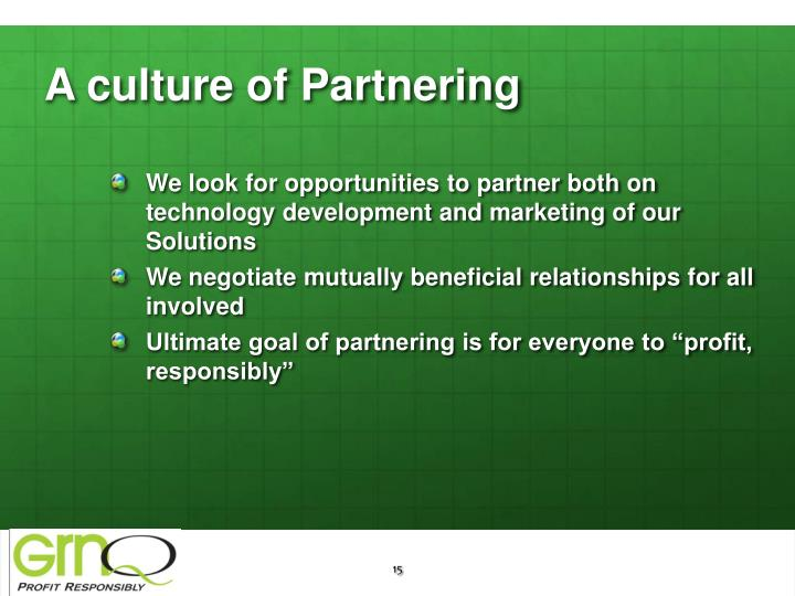 A culture of Partnering
