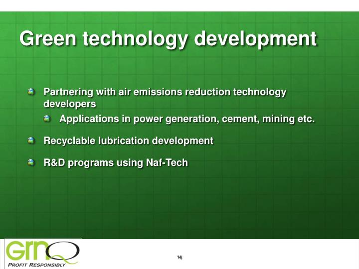 Green technology development