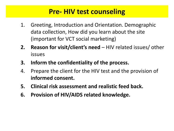 Pre- HIV test counseling