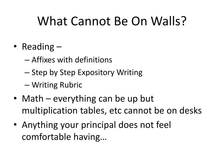 What Cannot Be On Walls?