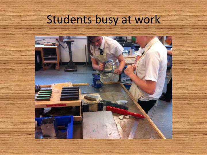 Students busy at work