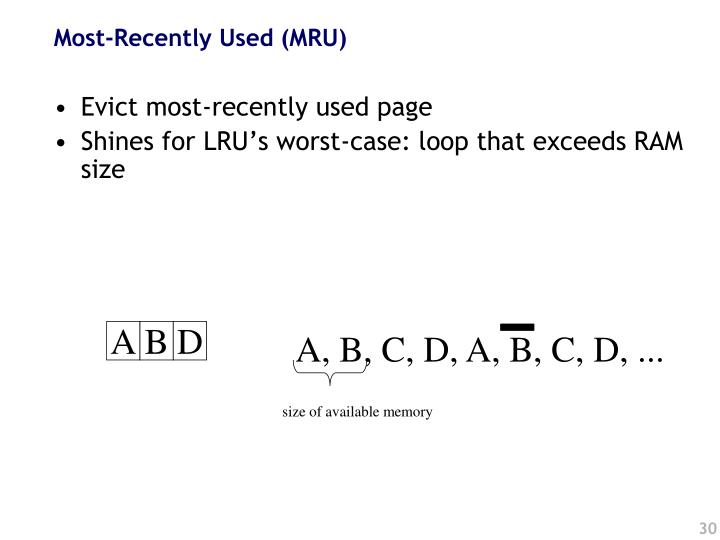 Most-Recently Used (MRU)