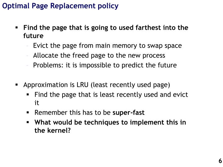 Optimal Page Replacement policy