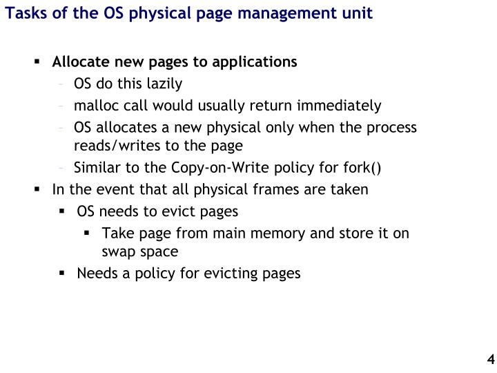 Tasks of the OS physical page management unit