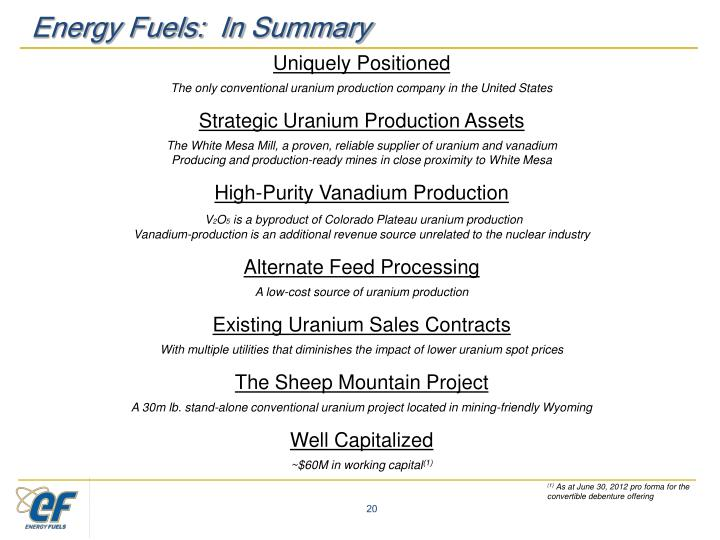 Energy Fuels:  In