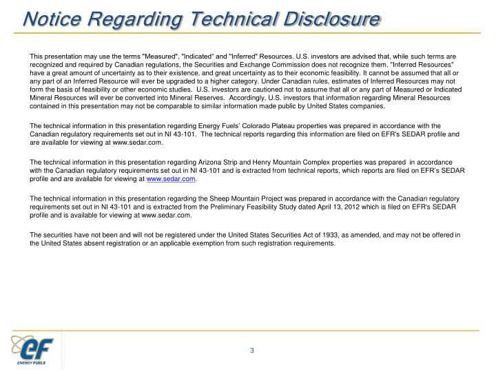 Notice Regarding Technical Disclosure