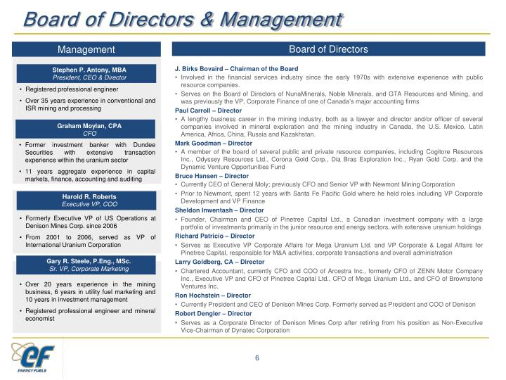 Board of Directors & Management