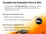 complete the evaluation form win
