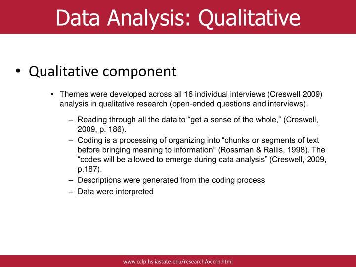Data Analysis: Qualitative