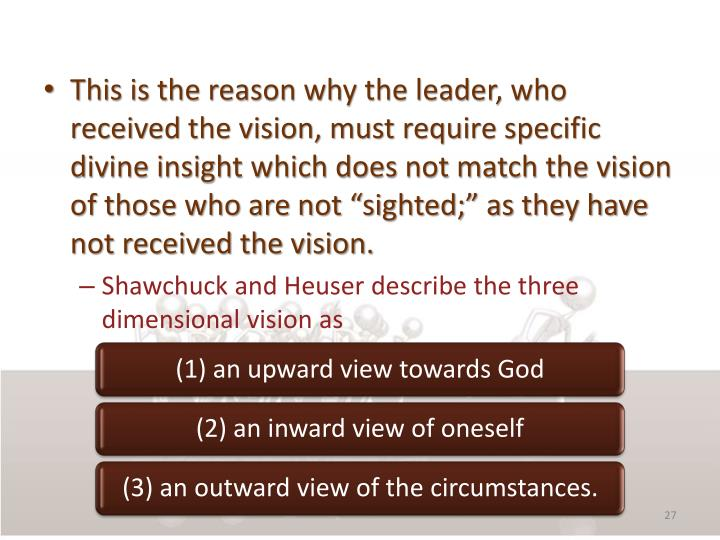 "This is the reason why the leader, who received the vision, must require specific divine insight which does not match the vision of those who are not ""sighted;"" as they have not received the vision."