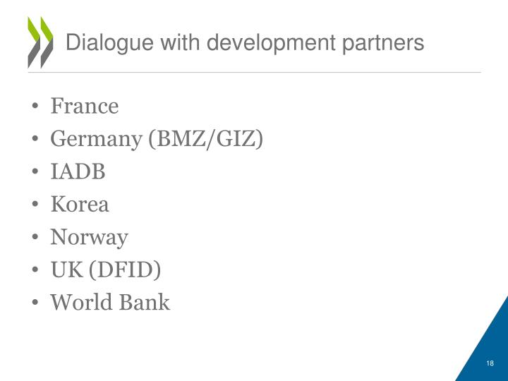 Dialogue with development partners