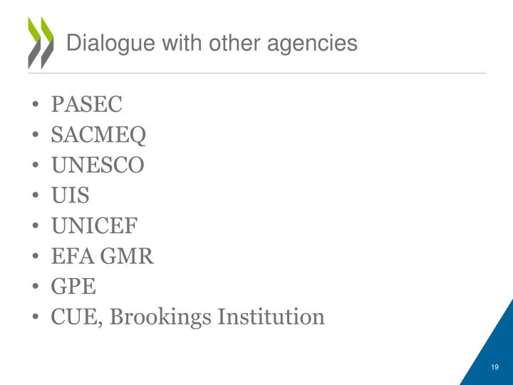 Dialogue with other agencies