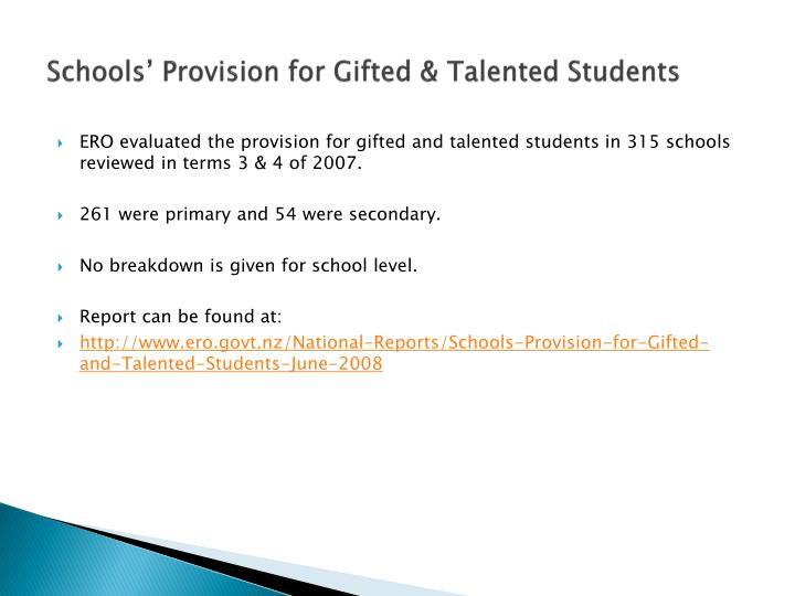 Schools' Provision for Gifted & Talented Students